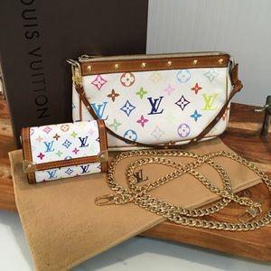 Retired Louis Vuitton multicolor pouchette &wallet